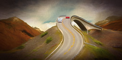 Highway To The Sky (jarr1520) Tags: sky clouds coposite textured mountains roadway highway auto camper curves bridge