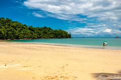 Isla Coiba Beach (dudi_dudewitz) Tags: travel blue sky holiday boat bay nikon beach sea panama coiba island sand palm trees landscape paradise