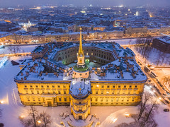 Saint Michael's Castle (filchist) Tags: russia stpetersburg winter dusk saintmichaelscastle city aerial dji drone architecture castle oldbuildings oldcity largecity europe петурбург инженерныйзамок зима вечер синий видсвоздуха дрон центргорода