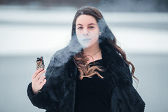 Puff of smoke (Sarah Sonny) Tags: portrait female woman witch wiccan sage spiritual smoke outdoors woods
