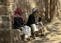Old Men Sitting On A Bench, Wadi Dhar, Yemen (Eric Lafforgue) Tags: adult arabia arabiafelix arabianpeninsula beard bench colourpicture dailylife day elder friend friendship horizontal man oldman placeofinterest portrait quietlife realpeople rest senior sittingposition stick togetherness traditionalcostume turban twopeople walkingstick wisdom yemen img1469 wadidhar