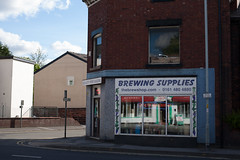 Stockport Brewing Supplies (btyreman) Tags: 50mm canon canon5d canoneos5d carlzeiss carlzeissplanartf1450mmze cheshire fullframe glass neonsign planar5014ze stockport street zeiss brewingsupplies qualitywinemaking reflections winemaking ©bentyreman2012 amici thebrewshop wwwthebrewshopcom