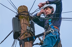 """110311 BT Engineer 52 (hoffman) Tags: bt engineer work telephone pole wire cable maintenance climbing davidhoffman davidhoffmanphotolibrary socialissues reportage stockphotos""""stock photostock photography"""" stockphotographs""""documentarywwwhoffmanphotoscom copyright"""