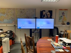 "Office Conference: Dual Screen Floor Stand Bracket, 2x 32 Inch TV Installed In Acton, London. • <a style=""font-size:0.8em;"" href=""http://www.flickr.com/photos/161212411@N07/46965126892/"" target=""_blank"">View on Flickr</a>"