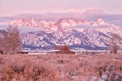 Grand Teton National Park Sunrise (Mark A. Bowers) Tags: grand tetons mountain barn moulton snow national park wyoming jackson rustic old