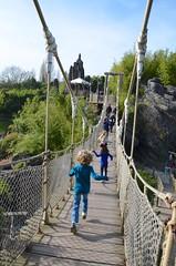 The Kids On The Suspension Bridge At Adventure Isle (Joe Shlabotnik) Tags: disneyland disneylandparis violet everett paris france april2018 eurodisney bridge disney 2018 afsdxvrzoomnikkor18105mmf3556ged