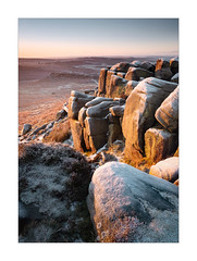 Autumn Frosts (Dave Fieldhouse Photography) Tags: peakdistrict derbyshire derbyshirelife nationalpark higgertor frost frosty sunrise dawn light cold freezing shadows glow sky carlwark portrait landscape outdoors countryside rocks heather gritstone fuji fujixt2 fujifilm wwwdavefieldhousephotographycom
