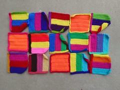 Fifteen six-inch crochet squares rehabbed from remnants (crochetbug13) Tags: crochet crocheted crocheting crochetsquares crochetremnants crochetrectangles crochetblanket projectamigo