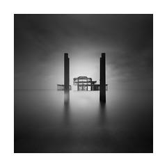 Old white leg! (Nick green2012) Tags: blackandwhite longexposure square derelict silence brighton pier minimalism