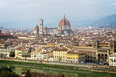 View to Florence from Piazzale Michelangelo (Tigra K) Tags: florence tuscany italy it provinceofflorence 2014 architecture bell castle church city dome gothic palace portal renaissance river road romanesque roof spire tower wall arch