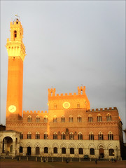 Siena Town Hall (kate willmer) Tags: city building architecture light sunset windows tower siena tuscany italy