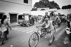0908 Hard Work (Hrvoje Simich - gaZZda) Tags: outdoors street people man bike rickshaw work indian blackwhite monochorme india asia travel nikon nikond750 nikkor283003556 gazzda hrvojesimich