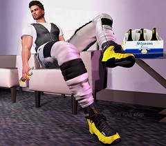Chill Mode (Pixel Beast) Tags: thepixelbeast thesims thepixelbeastcom secondlife second style sexy sl stylist life lifestyle linden labs pixel pixelbeast yellow blog blogger beast belleza sneakers sweatpants vest leather man male chill beer fashion fashionblog bento grey blogging blogs