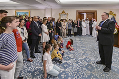 Secretary Pompeo Participates in Meet and Greet With U.S. Embassy Doha Personnel and Families (U.S. Department of State) Tags: qatar mikepompeo