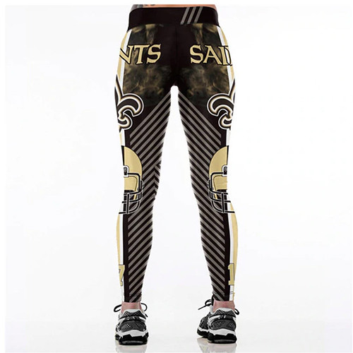 Women Leggings New Orleans Saints 17 Sport Print Running Active Sportswear High Waist Pant Sexy Slim Hip Fitness Jogger Gym