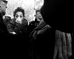 Through the Crowd 2 (Owen J Fitzpatrick) Tags: ojf people photography nikon fitzpatrick owen pretty pavement chasing d3100 ireland editorial use only ojfitzpatrick eire dublin republic city tamron candid joe candidphotography candidphoto unposed natural attractive beauty beautiful woman female lady j along photoshoot street dslr digital streetphoto streetphotography black white mono blackwhite blackandwhite monochrome blancoynegro pretoebranco bw dun laoghaire peoples park scarf eye contact coat brunette face irish