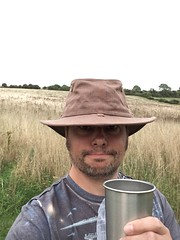 Me, on the campsite, with a homebrew and my new hat (dark_dave25) Tags: south downs uk england camping september 2018 hot