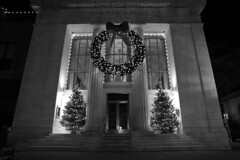 Bank (nicolemonsees) Tags: bank blackandwhite saratoga saratogasprings lights wreath winter christmas christmaslights christmastreelights christmastree
