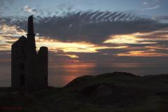 3KA09194a_C (Kernowfile) Tags: cornwall cornish sunset sky clouds botallack tinmine enginehouse sea reflections water grass bushes rocks pentax