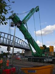 Lowering boom (stevenbrandist) Tags: crane birstall leicestershire leicester bridge road truck