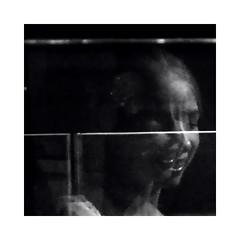 smiley face (béalbocht) Tags: people woman smileyface escalator portrait bw mono light sun summer dublin