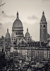 4:30pm Sacré-Cœur still terrorises Montmartre and North Paris (marc.barrot) Tags: bw monochrome landmark monument église church france paris 75018 montmartre sacrécœur
