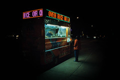 Food Cart, Utopia Parkway (V-A-B) Tags: film analog kodakportra800 canonelan7 tamron28300mmvcpzd queens newyorkcity food halalcart night