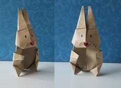 Origami bunny rabbit (eveliensbunnypics) Tags: bunny rabbit hare paper papercraft origami handmade folded folding paperfolding