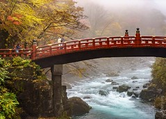 Shinkyo or Sacred Bridge (FlickrDelusions) Tags: trees bridge shrine jinja autumn shinkyo nikko sacred futarasan japan colour nikkoshi tochigiprefecture jp
