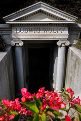 1905 (dayman1776) Tags: sony a6000 beautiful death grave graves monument classical neoclassical gravestone graveyard flowers red summer chicago illinois graceland cemetery steps stairs dead gilded age north side uptown