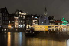 Damrak - Oude Kerk - Amsterdam (marcobenschop) Tags: amsterdam nikon d7100 1855mm night nacht dutch nederland the netherlands dark city stad damrak oudekerk