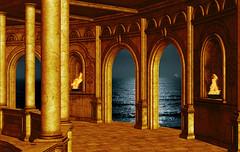 Night (*AdeCo*) Tags: architecture arch pillars night nightlight gold ocean sea moonshine fire flames hall room oldbuildings ancient antique fantasy seaview ship sailingship