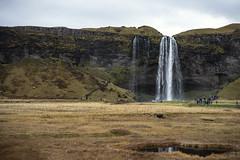 tourists (lawatt) Tags: seljalandsfoss waterfall tourists cliff iceland sonya7 leica 50mm summicronr
