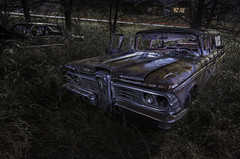 Dreams of Suburbs Past (jdnelms62) Tags: abandonedcars nightphotography night lightpainting suburbia traffic wagon villager edsel 1959