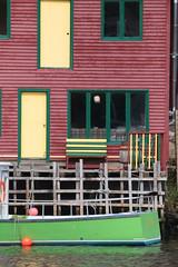 Quidi Vidi Dock (peterkelly) Tags: digital canon 6d northamerica canada newfoundlandlabrador stjohns quidividi green boat ship door window windows yellow water harbor harbour dock