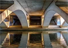 322.3 Under the M25 (2) (Dominic@Caterham) Tags: m25 bridge reflections sunlight water river thames path ripples concrete