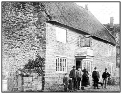 England. Old Photograph of the Red Lion Inn, Kilsby, Northamptonshire, England, circa 1800's,  showing the landlady Mrs. Frisbee and village Locals. (Bill E2011) Tags: england northamptonshirekilsby pub 1800s old villagethatched public house beer social gathering community