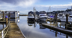 A dock, of course (Tony Tomlin) Tags: crescentbeachmarina britishcolumbia canada southsurrey nicomeklriver wharf boats boathouses reflections