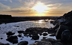 Newbiggin Beach - Sunrise Over Rockpool (P) (Gilli8888) Tags: cameraphone samsung s7 northumberland newbigginbythesea newbiggin northsea sunrise beach sand coast coastal shore seaside seascape sun dawn sea water panorama rocks rockpool marine reflection silhouette silhouettephotography