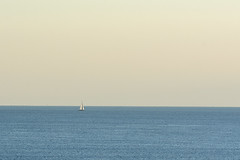 Lonely sailing boat (Jan van der Wolf) Tags: map189176v ship boat sailboat sailingboat zeilboot simple simpel minimalism minimalistic minimalisme minimal minimlistic sea seascape zee eveninglight avondlicht