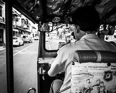 Riding in a Tuk Tuk in Bangkok (efether234) Tags: street streetphotography bangkok thai blackandwhite thailand tuktuk monochrome bw motion reflection mirror sonyrx100 happyplanet asiafavorites