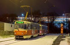 Nočné Vinohrady I. | ČKD Tatra T3G #7841 | Bratislava-Vinohrady (lofofor) Tags: tram trams električka tramvaj čkd tatra t3 tatrat3 7841 mhd mestská hromadná doprava dpb publictransport public transport ba bratislava vinohrady sk sr svk slovakia slovensko sneh zima snow winter zastávka stanica linka7 t3g