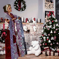 The making of the Holiday Dress (marieschubert1) Tags: sewing design holiday dress barbie fashion doll christmas decisions