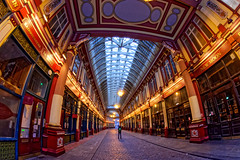 Lone Photographer (Geoff Henson) Tags: leadenhallmarket cityoflondon london market historic building architecture man person fisheye shops lights atrium ceiling skylight pillars pavement pathway photographer