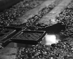 Puddle & grate (Shaka1277) Tags: adaptedlens adapted manual fuji fujifilm xt2 street streetphotography dublin dublincity night nighttime monochrome mono monochromatic blackandwhite