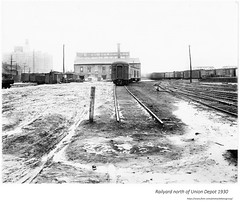 1930   railroad yard just above union station (albany group archive) Tags: morton coal storage warehouse central old albany ny vintage photos picture photo photograph history historic historical