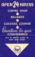 Vintage Matchbook Interior - Downtown Bowl - San Jose, Calif. (hmdavid) Tags: vintage matchbook matchcover advertising midcentury art illustration 1950s downtownbowl bowling sanjose california