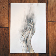 Second hand smoke (id-iom) Tags: smoke pastry hands smoking hot painting modern contemporary urban pop art becky