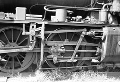 K184's Motive Gear (oz_lightning) Tags: 35mmslrcamera 35mmfilmcamera australia canonpixmamg8150 filmscan hanimexcs50 heathcote vic yashicaj3 yashinon50mmf2lens closeup film history industrial railways scan slide steam tracks trains victoria aus bw