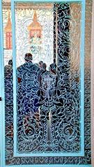 Blue Gate (adamsgc1) Tags: royalpalace phnompenh cambodia gate blue screen lattice